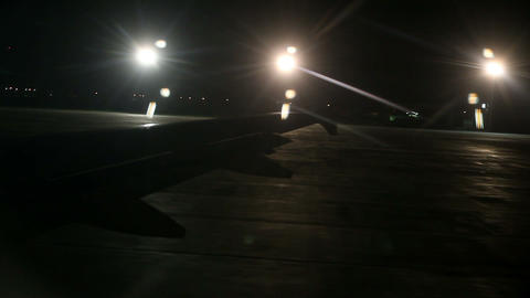 Airplane speeding for taking off shot from inside Footage