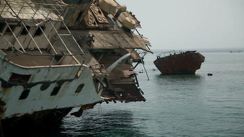 Close Up Details On Deck Of Sunken Ship At Sea stock footage