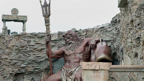Big God Zeus statue in park Footage