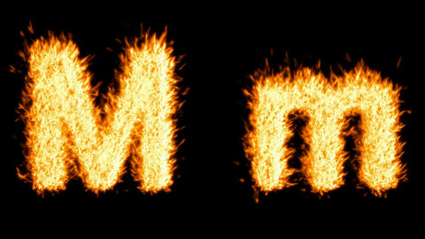 Loopable burning M character, capital and small. Alpha... Stock Video Footage