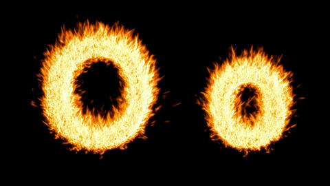 Loopable burning O character, capital and small. Alpha... Stock Video Footage