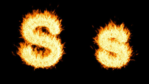 Loopable burning S character, capital and small. Alpha channel is included Animation