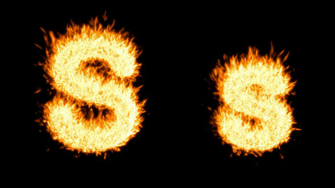 Loopable burning S character, capital and small. Alpha... Stock Video Footage