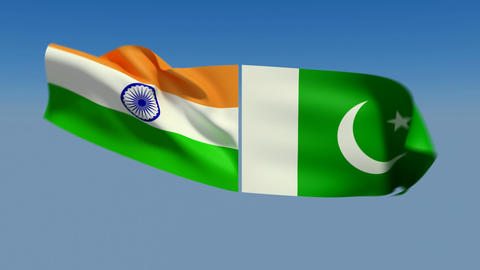 Loopable India and Pakistan Flags. Alpha channel is included Stock Video Footage
