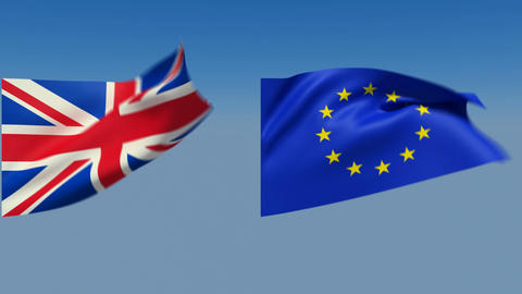 Loopable Great Britain and European Union Flags. Alpha... Stock Video Footage