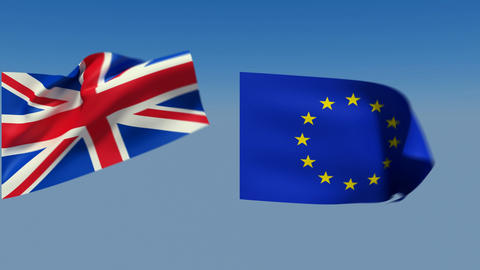 Loopable Great Britain and European Union Flags. Alpha channel is included Animation