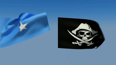 Loopable Somalia and pirates jolly Roger Flags. Alpha... Stock Video Footage