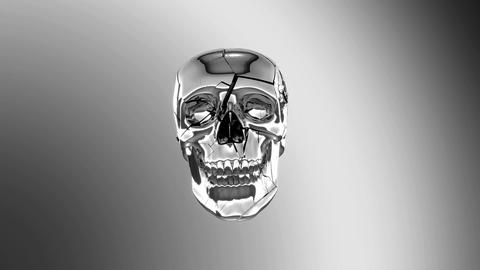 Chromed Skull destruction with slow motion. Alpha channel... Stock Video Footage