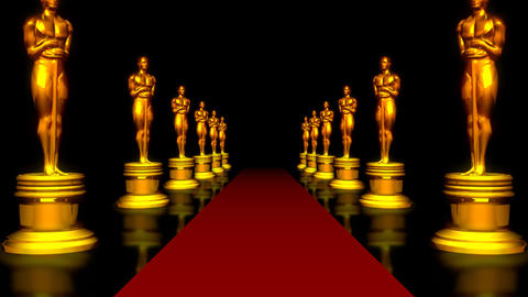 red carpet and the Golden Oscar CG動画素材