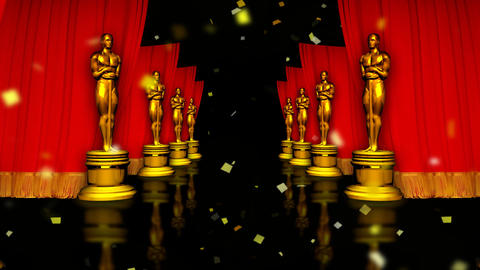 red carpet and the Golden Oscar Stock Video Footage