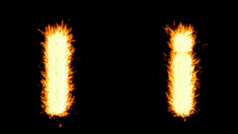 Loopable burning I character, capital and small. Alpha... Stock Video Footage