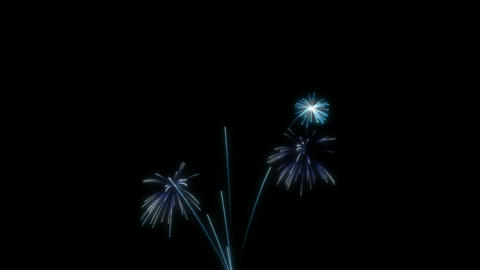 Loopable Blue Fireworks Over Black. Alpha Channel Is Included stock footage