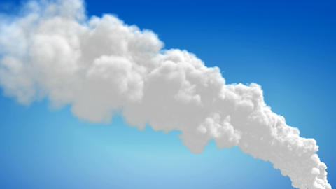 Chimney Flue Smoke Timelapse Over Blue Sky stock footage