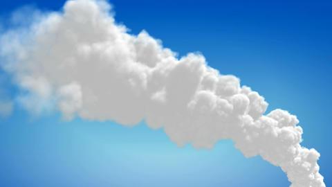 Chimney flue smoke timelapse over blue sky Stock Video Footage