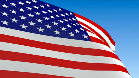 Seamless loop waving USA flag. Alpha channel is included Stock Video Footage