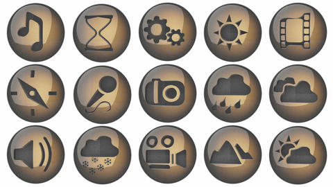loop icon set with alpha Stock Video Footage