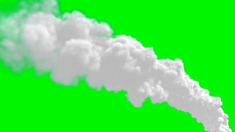 Chimney flue smoke timelapse over green screen Animation
