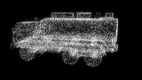 CG truck into SUV particles transformation. Seamless... Stock Video Footage