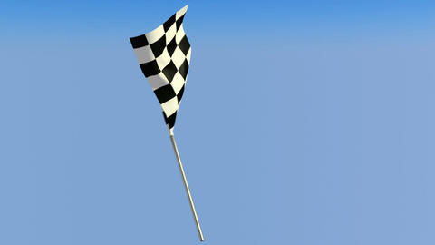 Finish – Loopable waving checkered flag over blue sky.... Stock Video Footage