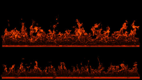 Two loopable Fire and Flame lines. Alpha channel is included Stock Video Footage
