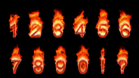 Loopable burning 0, 1, 2, 3, 4, 5, 6, 7, 8, 9. Alpha... Stock Video Footage