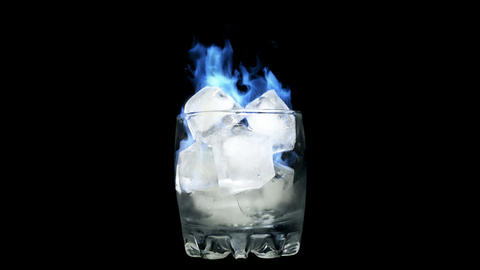 Loopable Blue flame - Burning Ice in Glass Animation