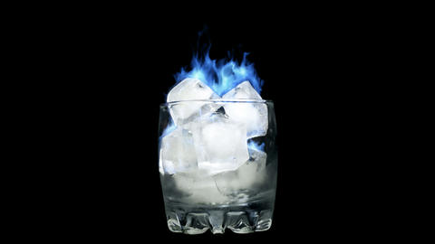Loopable Blue flame - Burning Ice in Glass Stock Video Footage
