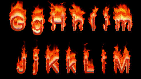 Loopable burning G, H, I, J, K, L, M. Alpha channel is... Stock Video Footage
