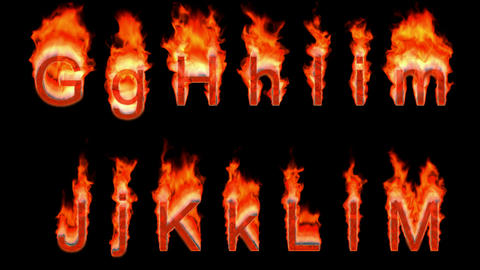 Loopable burning G, H, I, J, K, L, M. Alpha channel is included. Height of capital characters: about Animation