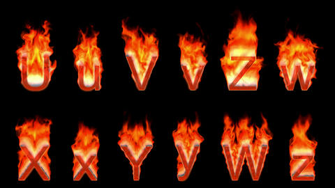 Loopable burning U, V, Z, W, X, Y. Alpha channel is included. Height of capital characters: about 19 Animation
