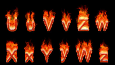 Loopable burning U, V, Z, W, X, Y. Alpha channel is... Stock Video Footage