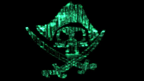 Infringe. Loopable cyberspace Pirate symbol or jolly Roger Stock Video Footage