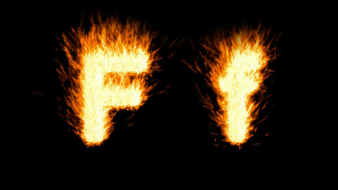 Loopable burning F character, capital and small. Alpha... Stock Video Footage