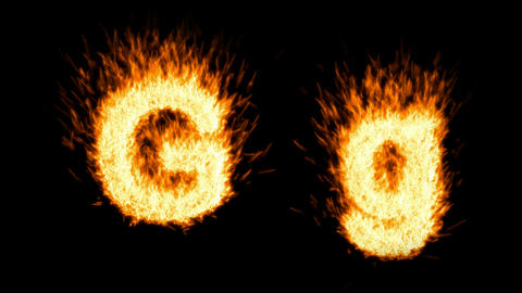 Loopable burning G character, capital and small. Alpha... Stock Video Footage