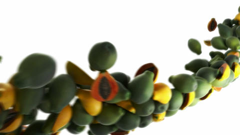 Papaya flow with slow motion over white Animation