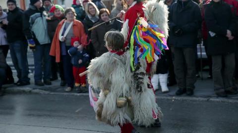 Kid dressed up in carnival figure from Ptujsko pol Footage