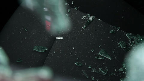 Shattered car window glass on the seat Footage