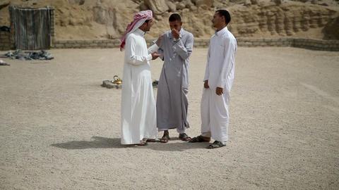 Three arabic looking people talking Footage