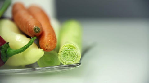 Vegetables for cooking prepared on plate Footage