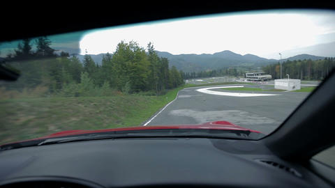 Driving on the racing track from a co-drivers seat Footage