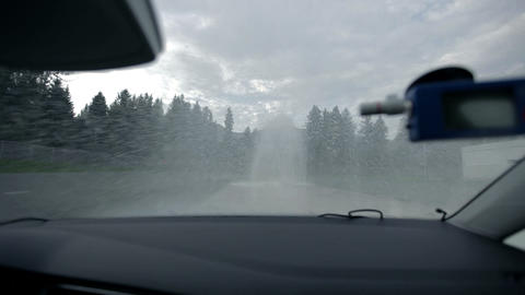 Driving through extreme watery polygon Footage