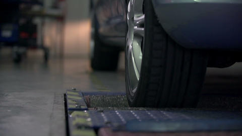 Detail shot of testing the rear tires on the autom Footage