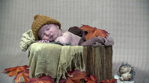 Baby boy resting in reminiscent of autumn scene Footage