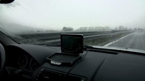 Activated wipers with dashboard Footage