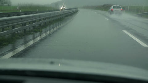 View On A Wet Highway On A Cloudy And Misty Day stock footage