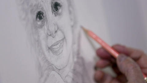 Artist draws little girl pretty quickly Footage