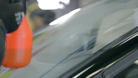 Close shot of car's wipers Footage