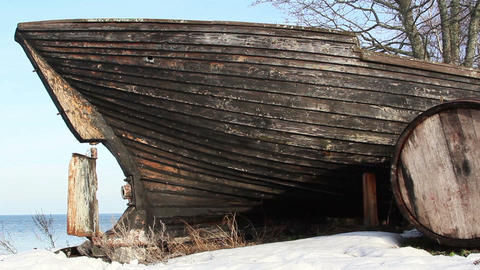 An old wrecked wooden boat Footage