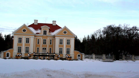 The big cream-colored old manor house in Estonia B Footage