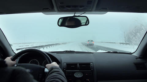 Driving In Snow 009 S HD stock footage